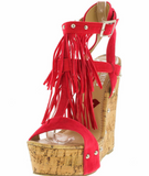 Fringe Studded Platform Wedges