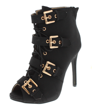 Black Buckle Faux Suede Heel