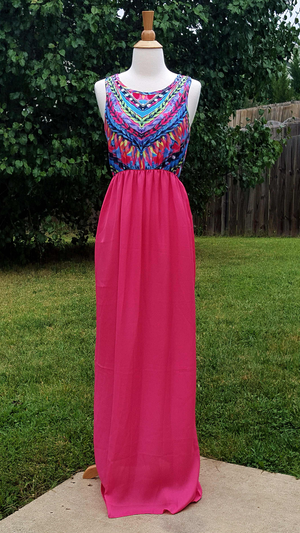 Pink Safari Maxi Dress