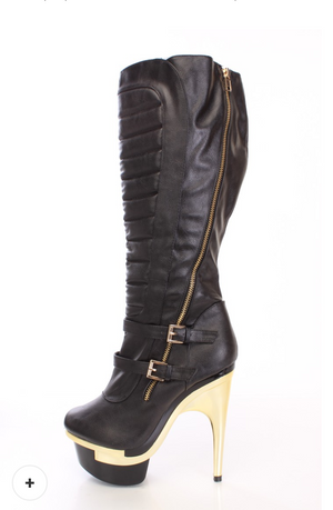 Black Knee High Faux Leather Boots
