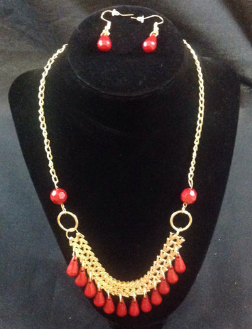 Burgundy and Gold Necklace and Earring Set