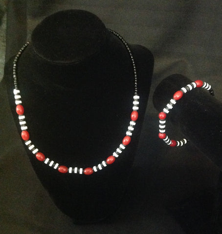 Red Beaded Delight Necklace Set