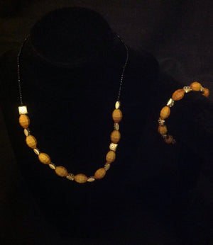 Gold & Tan Beaded Necklace Set