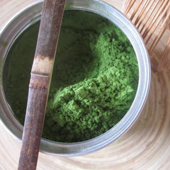 Ground matcha tea in a bowl
