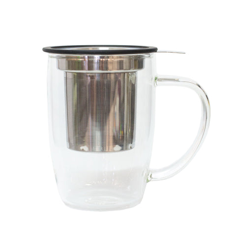 New Leaf Glass Tall Tea Mug with Infuser
