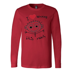 I Love Writing This Much - Canvas Long Sleeve Shirt T-shirt - WritersLife.org