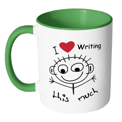 I Love Writing This Much - Accent Mug Drinkware - WritersLife.org