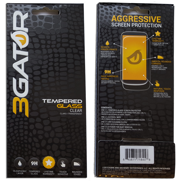 Tempered Glass by 3GATOR Retail Packaging