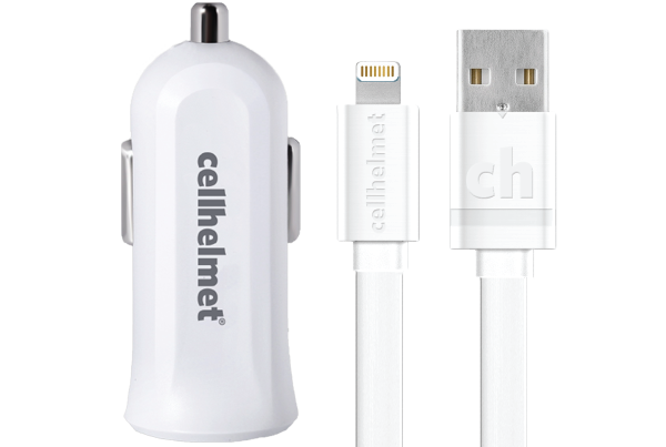 2.4A Car Charger + 3' Flat Lightning Cable - cellhelmet