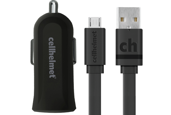 2.4A Car Charger + 3' Flat Micro USB Cable - cellhelmet