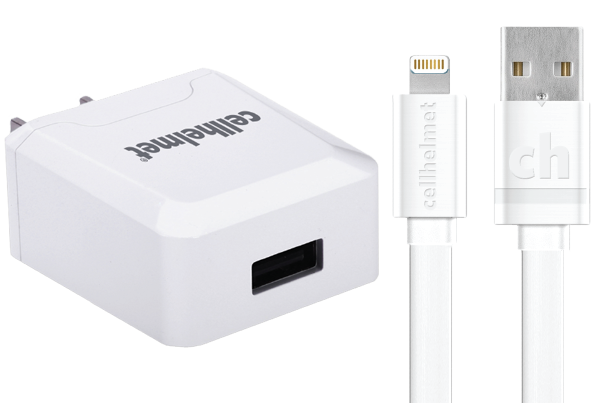 2.1A Wall Charger + 3' Flat Lightning Cable - cellhelmet