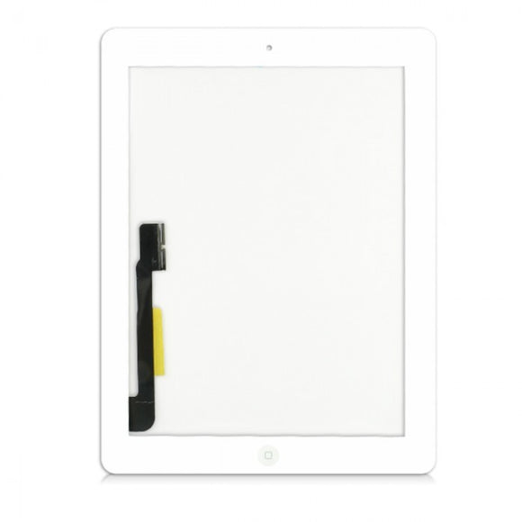 Apple iPad 4 replacement glass digitizer replacment with home button and camera holder- White