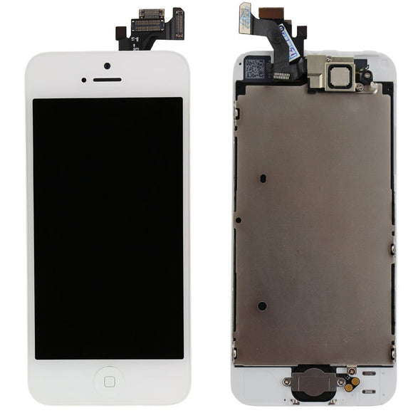Apple iPhone 5G LCD replacement with camera and home button assembly - White
