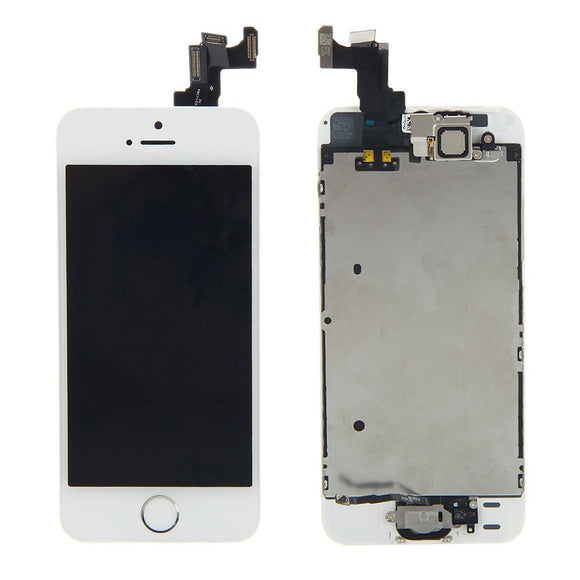 Apple iPhone 5S LCD replacement with camera and home button assembly - White