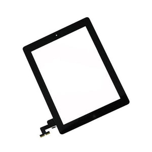 iParts brand replacement for Apple iPad 2 replacement glass digitizer replacement with home button and camera holder- Black