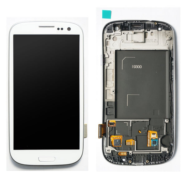 Samsung Galaxy S3 SIII GT-i9300 White full LCD witht frame