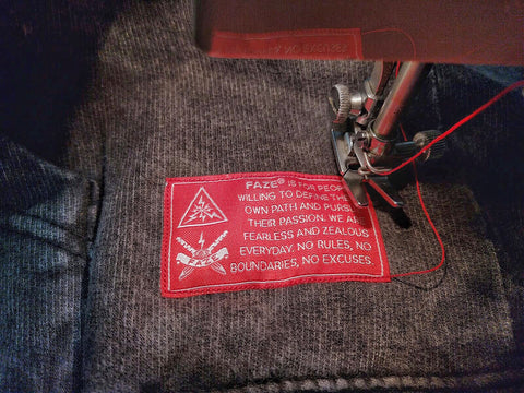 FAZE Apparel - FAZE Mentality - Sewing - cut and sew - woven tag - branding - logo - 1