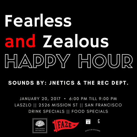 faze apparel - fearless and zealous - happy hour event - flier - 1