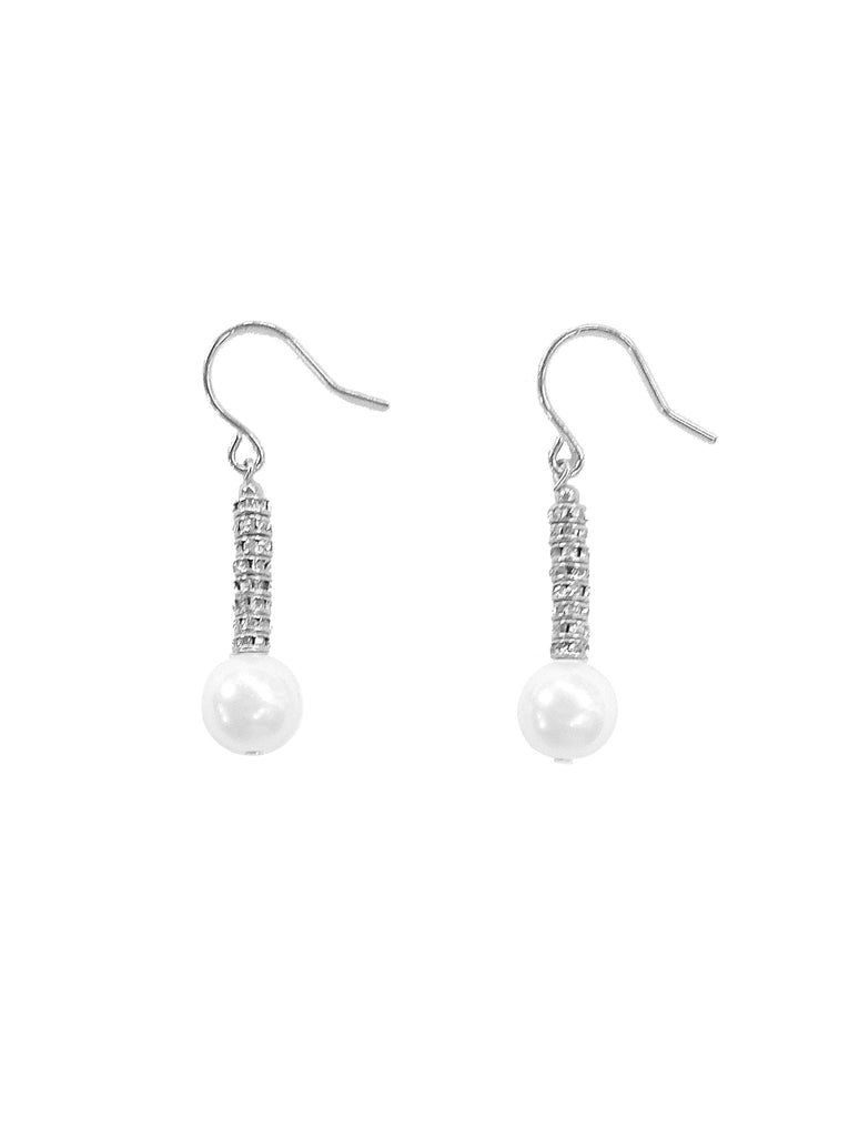 WHITE CRYSTAL PEARL EARRINGS WITH SILVER CRYSTAL RONDELLES