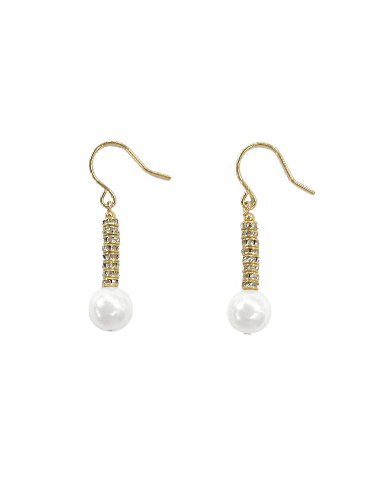 WHITE CRYSTAL PEARL EARRINGS WITH GOLDEN CRYSTAL RONDELLES