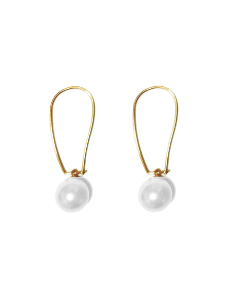 WHITE CRYSTAL PEARL LONG GOLDEN HOOK EARRINGS