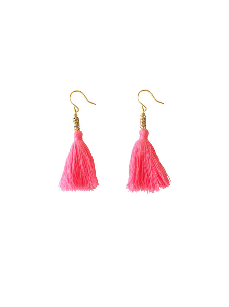 SHOCKING PINK COTTON THREAD EARRINGS