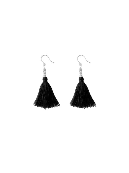 BLACK COTTON THREAD EARRINGS