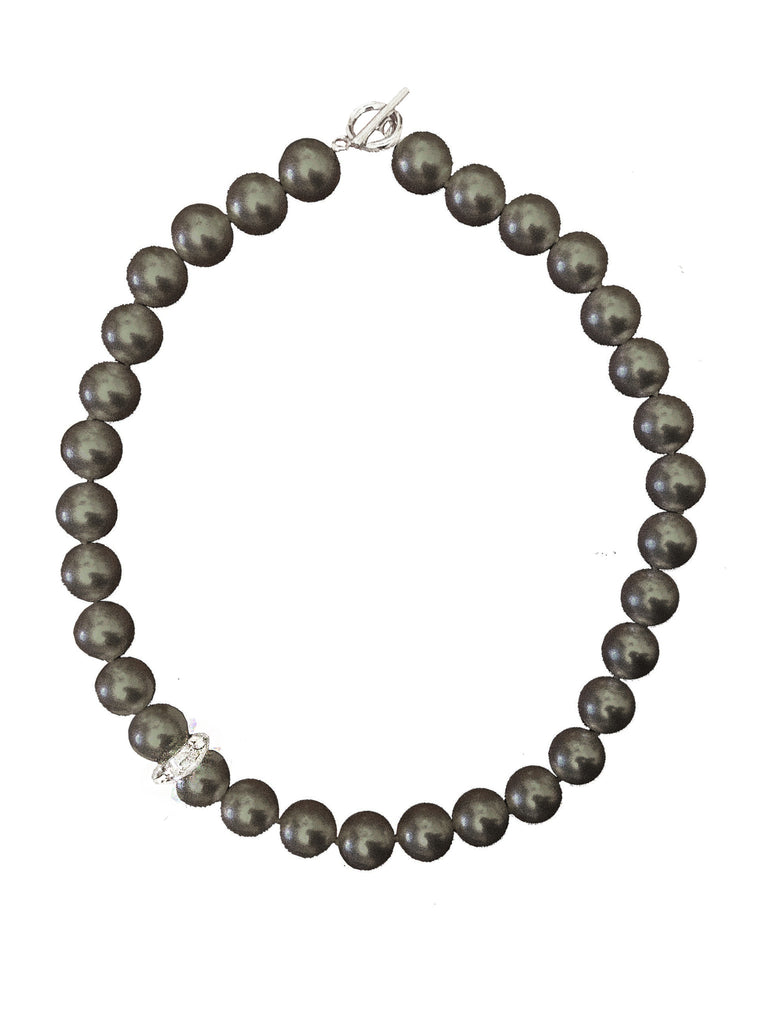 BLACK CRYSTAL PEARL NECKLACE WITH CRYSTAL ELEMENT
