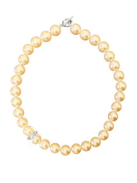 GOLD CRYSTAL PEARL NECKLACE WITH CRYSTAL ELEMENT