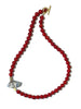 RED CORAL NECKLACE WITH CRYSTAL ELEMENT