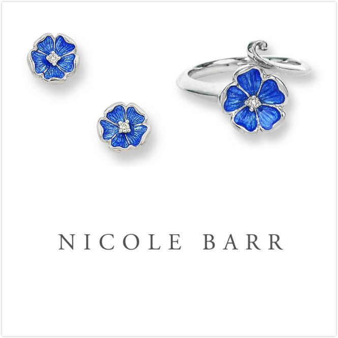 ENAMEL ROSE FLOWER DIAMOND EARRINGS & RING SET
