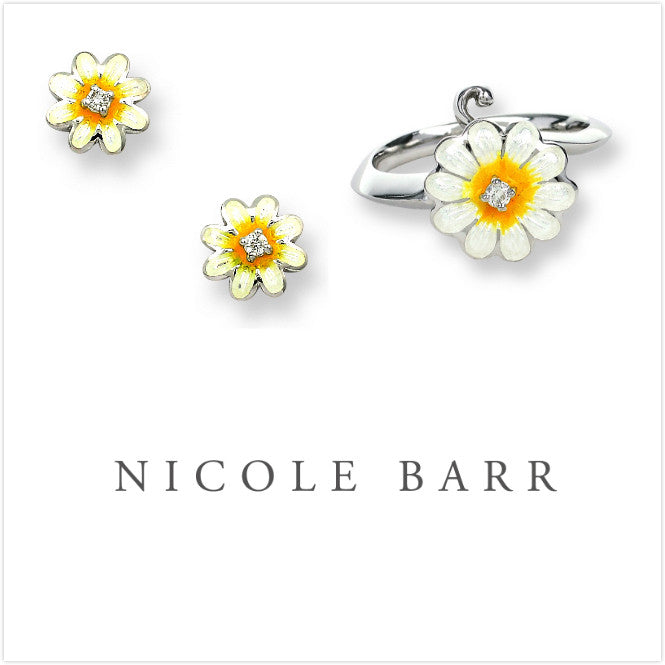 ENAMEL DAISY FLOWER DIAMOND EARRINGS & RING SET