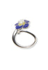 ENAMEL PANSY FLOWER PEARL RING