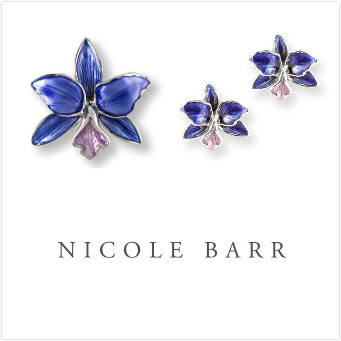 ENAMEL ORCHID BROOCH & EARRINGS SET