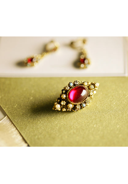 Vintage Cabochon Red Glass Faux Pearl, Faux Turquoise and Rhinestine Brooch
