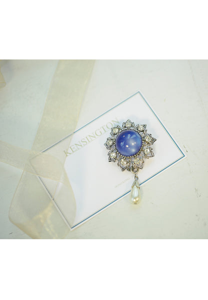 Vintage Lucite Blue Moonstone, Clear Rhinestone and Fraux Pearl Drop Brooch