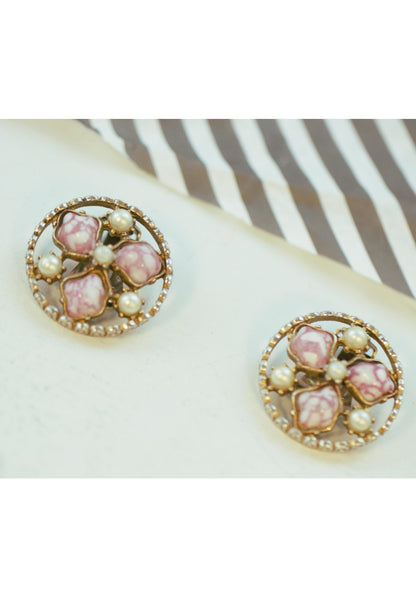 Vintage Pink Art Glass and Faux Pearl Book Chain Link Earrings