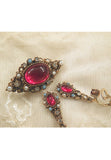 Vintage cabochon Red GlassFaux Pearl and Dangle Earrings