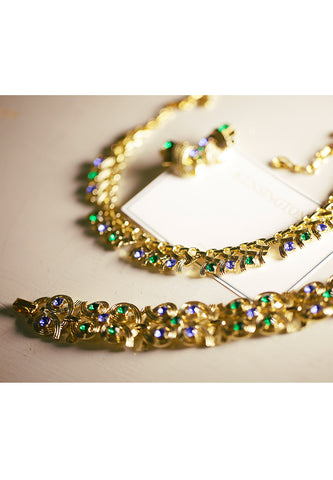 Necklace-vintage CORO ribbon style blue and Green Rhinestone