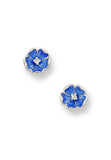 ENAMEL ROSE FLOWER DIAMOND EARRINGS