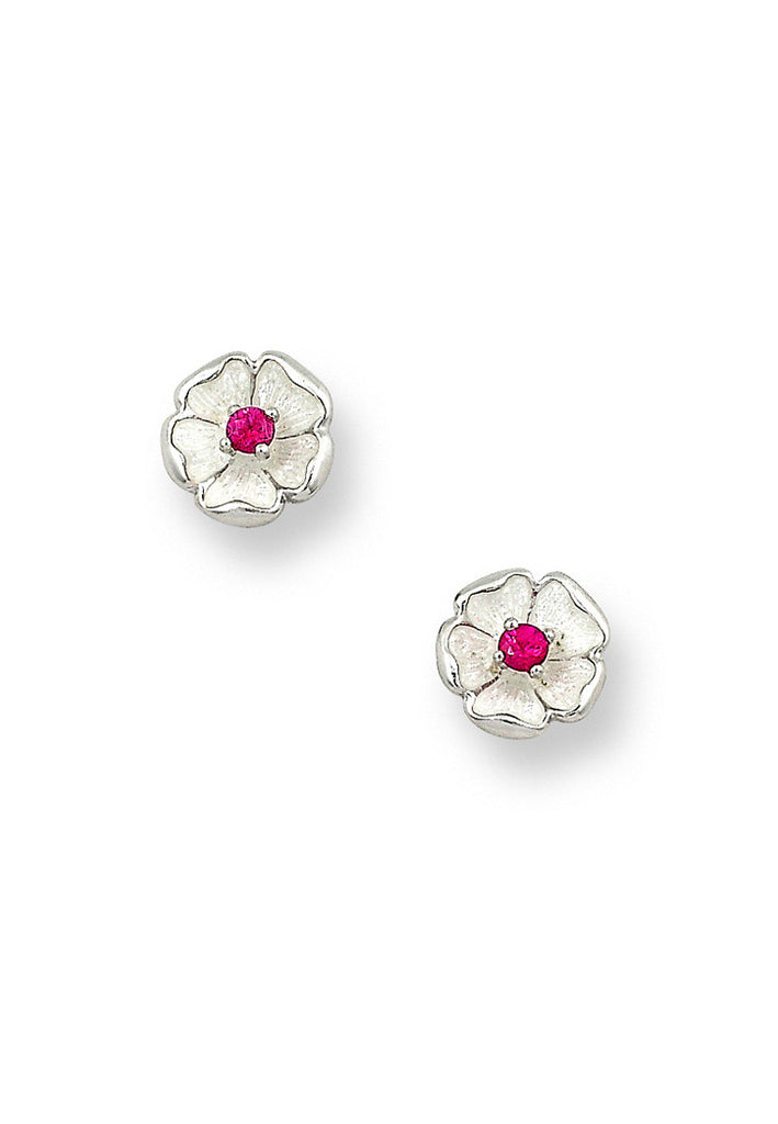 ENAMEL ROSE FLOWER RUBY EARRINGS
