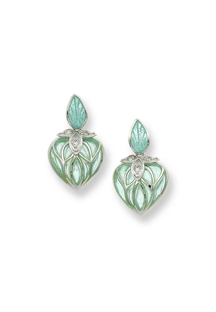 TRANSPERANT ENAMEL LANTERN FLOWER DIAMOND  EARRINGS