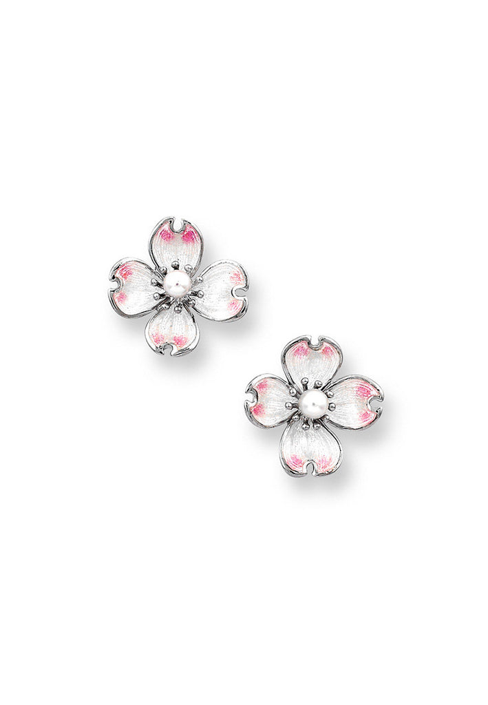 ENAMEL DOGWOOD FLOWER EARRINGS
