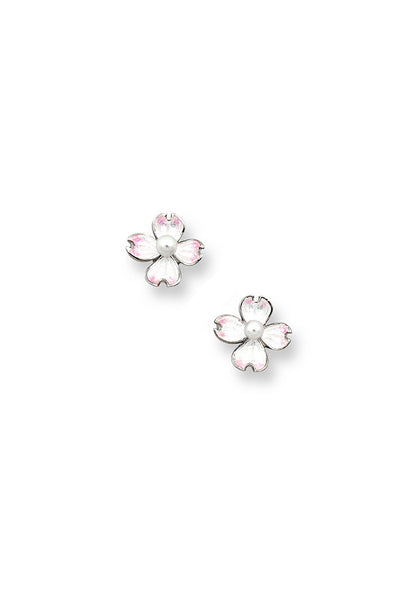 ENAMEL FLOWER PEARL EARRINGS