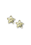 ENAMEL STEPHANOTIS FLOWER TOPAZ EARRINGS