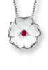 ENAMEL ROSE FLOWER RUBY NECKLACE