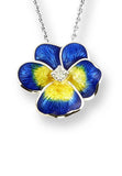 ENAMEL PANSY FLOWER DIAMOND NECKLACE