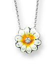 ENAMEL DAISY FLOWER DIAMOND NECKLACE
