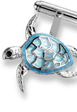 ENAMEL CUFFLINKS SEA TURTLE