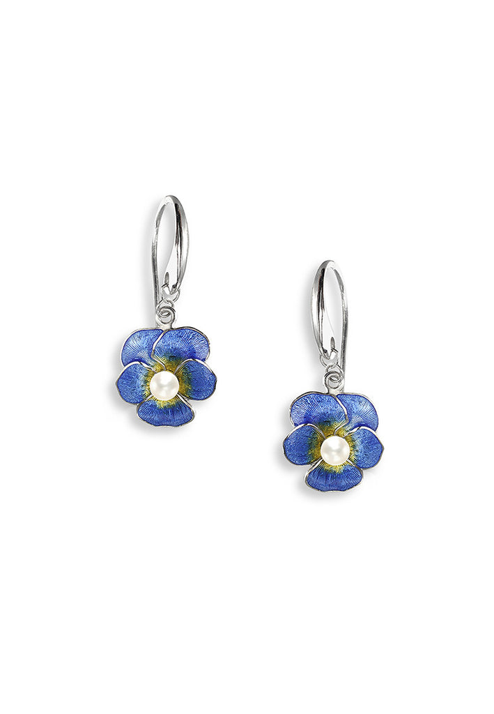 ENAMEL PANSY FLOWER PEARL EARRINGS